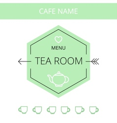 Tea room business card template vector image