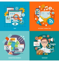 Seo internet marketing flat vector