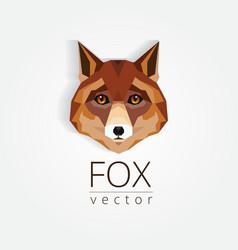 3d origami low polygon fox vector
