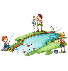 Boys fishing vector