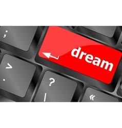 Dream button showing concept of idea creativity vector
