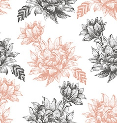 Seamless pattern with large flowers on a white vector