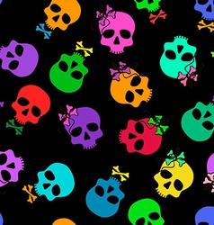 Seamless pattern of funny cartoon skulls vector image
