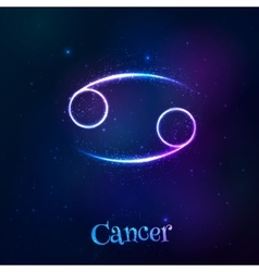 Blue shining cosmic neon zodiac cancer symbol vector