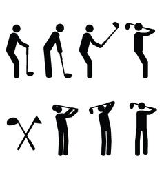 Golfer pictograms vector