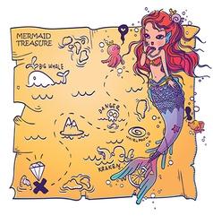 A mermaid and treasure map vector