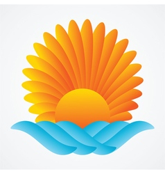 abstract sun sea vector image