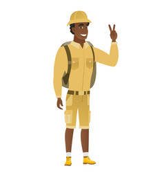 African-american traveler showing victory gesture vector