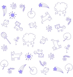 Animal for child doodle art vector image vector image