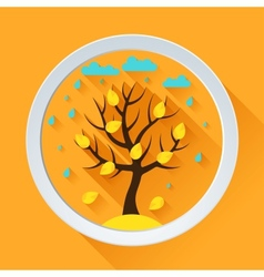 Background with autumn tree in flat design style vector