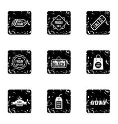 Black friday icons set grunge style vector