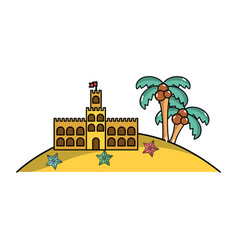 Castle of the sand near to the palms and stars in vector