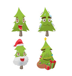 Christmas tree cartoon fun character vector