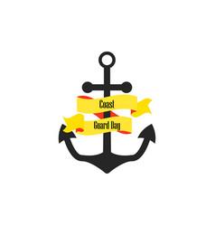 coast guard day anchor with ribbon vector image vector image