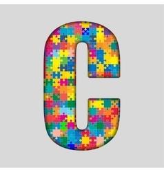 Color Puzzle Piece Jigsaw Letter - C vector image