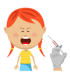 Cute little girl getting vaccination crying vector