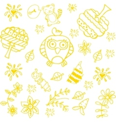 Doodle art for kids yellow vector
