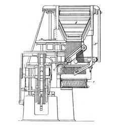 Early model linotype machine vintage vector