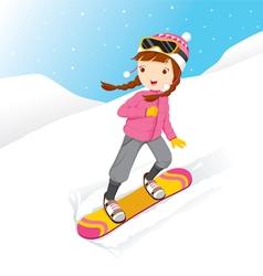 Girl Snowboarding vector image vector image