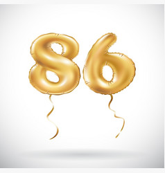 golden number 86 eighty six metallic balloon vector image