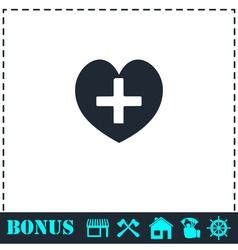 Health hearth cross icon flat vector