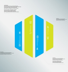 Hexagon template consists of four color parts on vector