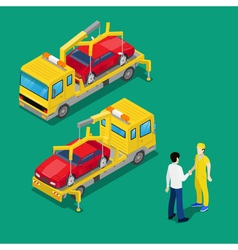 Isometric Car Assistance Roadside Tow Truck vector image