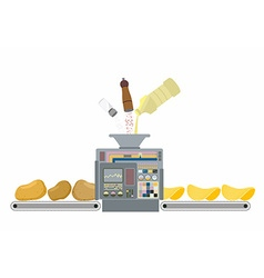 Machine for making potato chips Production of deep vector image vector image