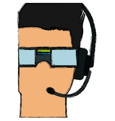 Man wearing a virtual reality goggles headset vector