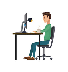 Man working sitting in desk computer work space vector