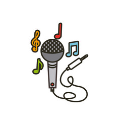 microphone with cord icon vector image vector image