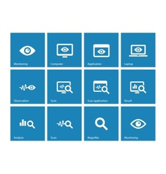 Monitoring icons on blue background vector image