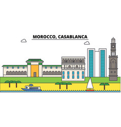 Morocco casablanca outline city skyline linear vector