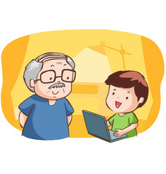 Nephew show grandad how to use computer vector