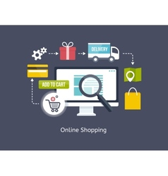 Online shopping process infographic vector