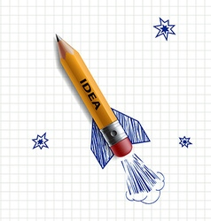 Pencil rocket Stock vector image