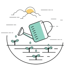 planting pouring water into plant gardening line vector image vector image