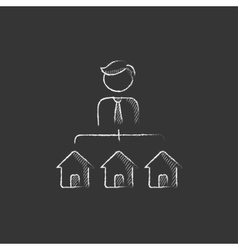Real estate agent with three houses Drawn in vector image