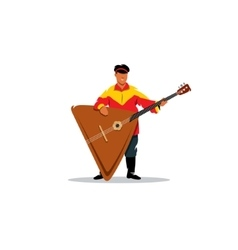 Russian balalaika and a man in traditional folk vector image