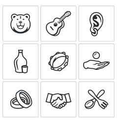 Set of gypsy camp icons bear guitar eear vector