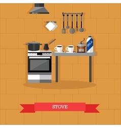 Stove and kitchen utensils vector