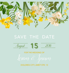Summer and spring floral card in watercolor vector
