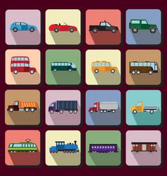 Vehicles flat icons vector