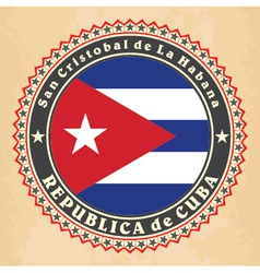 Vintage label cards of cuba flag vector