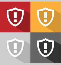 Warning shield icon with shade on colored vector