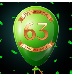 Green balloon with golden inscription sixty three vector