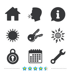 Home key icon wrench service tool symbol vector
