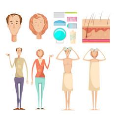 Hair loss elements set vector