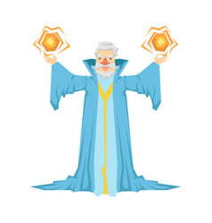 Old bearded wizard in a blue robe holding two vector