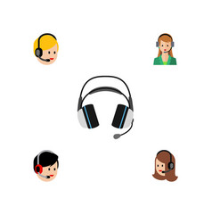 Flat hotline set of call center earphone vector
